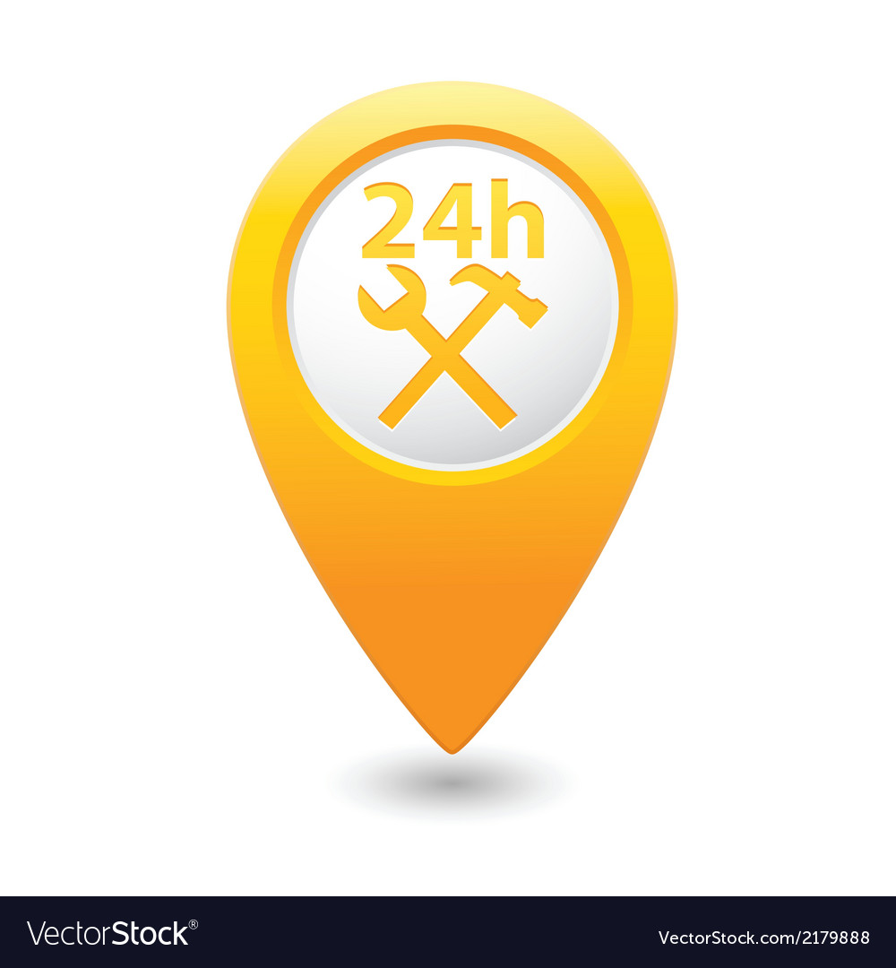 Car service 24h icon on yellow pointer vector | Price: 1 Credit (USD $1)