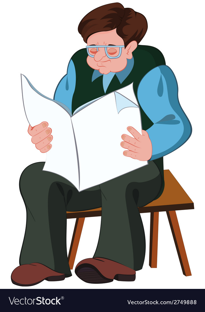 Cartoon old man reading newspaper vector | Price: 1 Credit (USD $1)