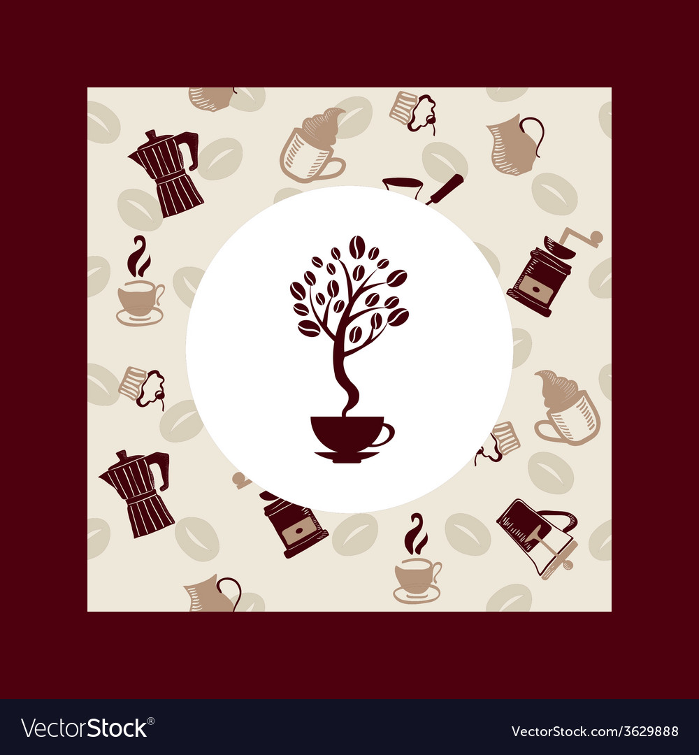 Coffee beans tree background vector | Price: 1 Credit (USD $1)