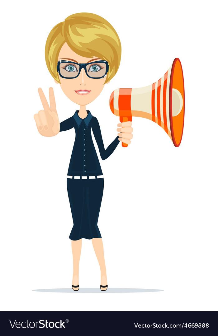 Female messenger negotiator with a loudspeaker vector | Price: 1 Credit (USD $1)