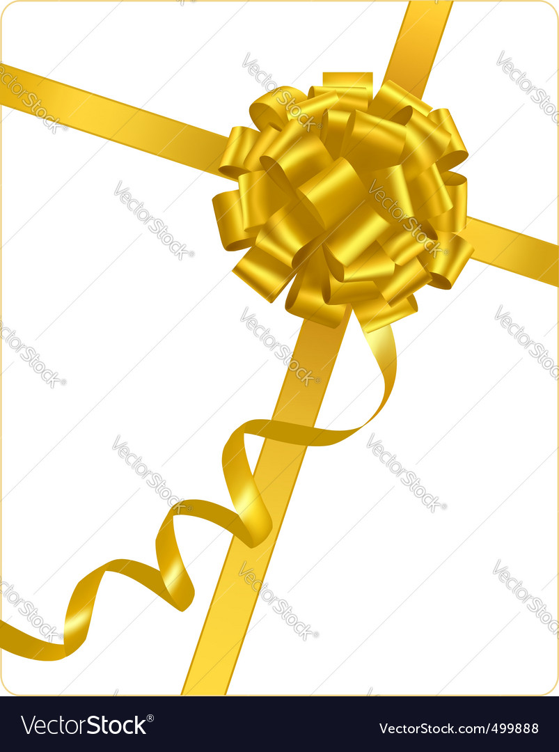 Gold holiday bow with ribbons vector | Price: 1 Credit (USD $1)