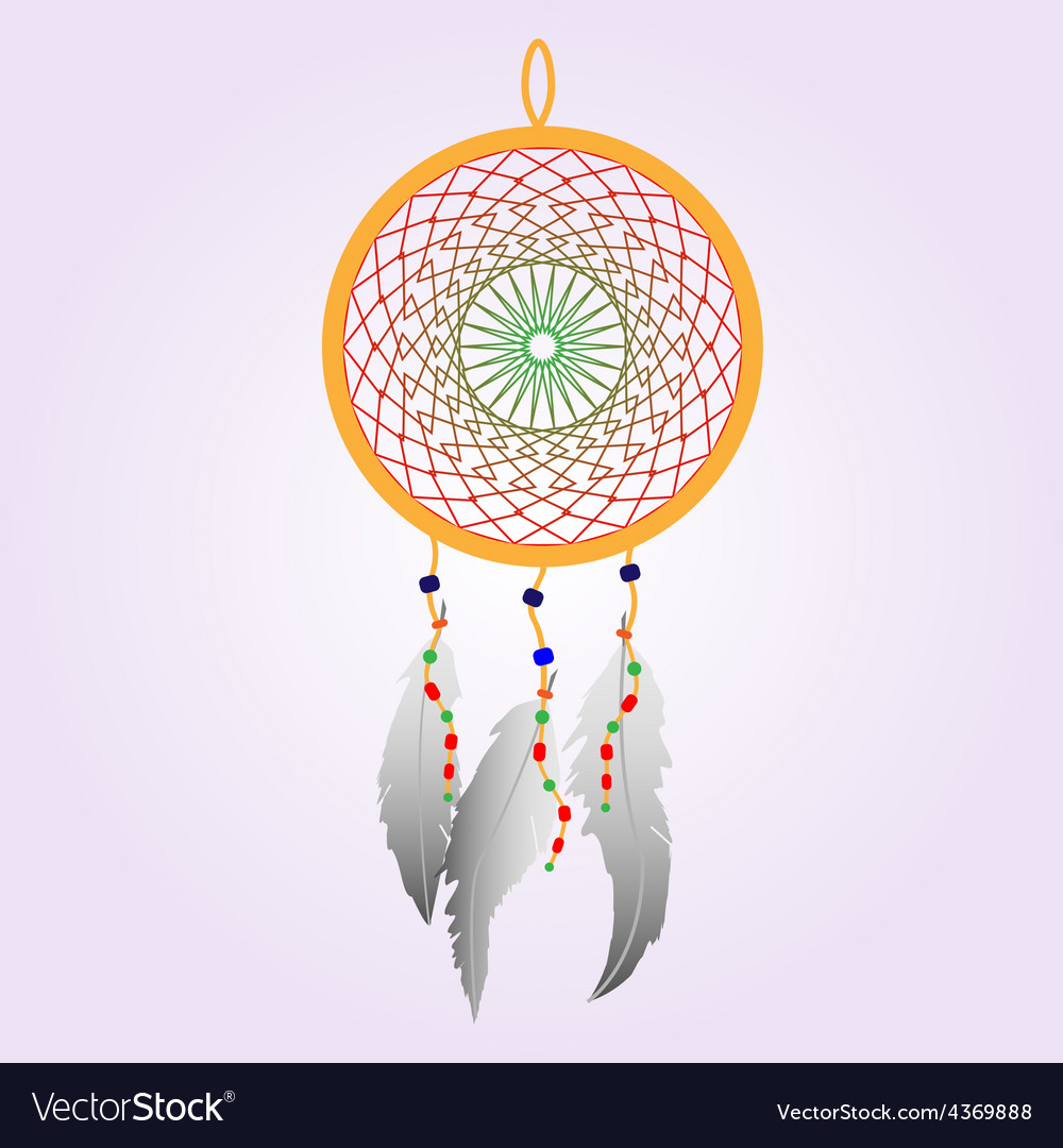 Indian dream catcher color vector | Price: 1 Credit (USD $1)