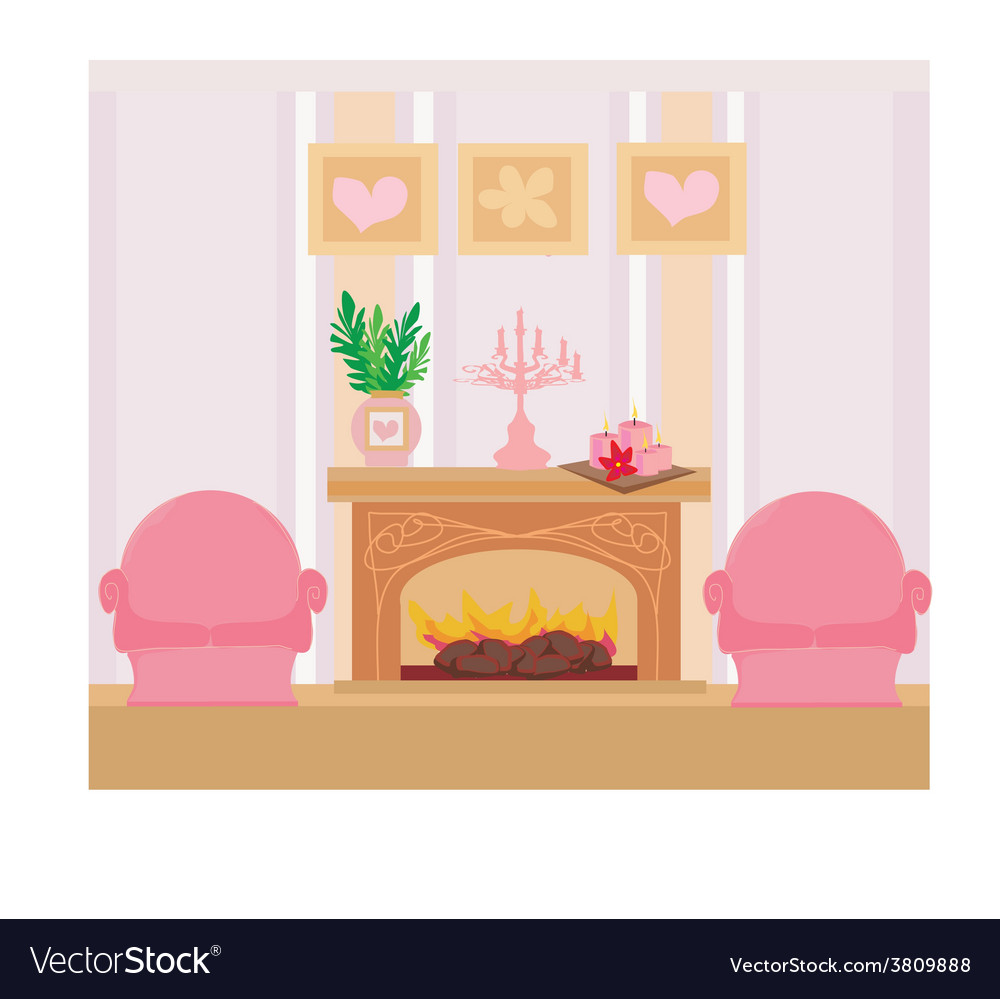 Interior of the fireplace in the center of the vector | Price: 1 Credit (USD $1)