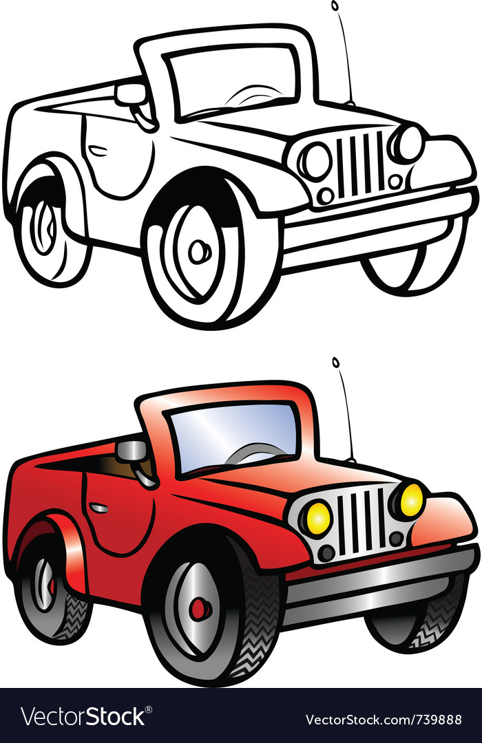 Jeep coloring book vector | Price: 1 Credit (USD $1)