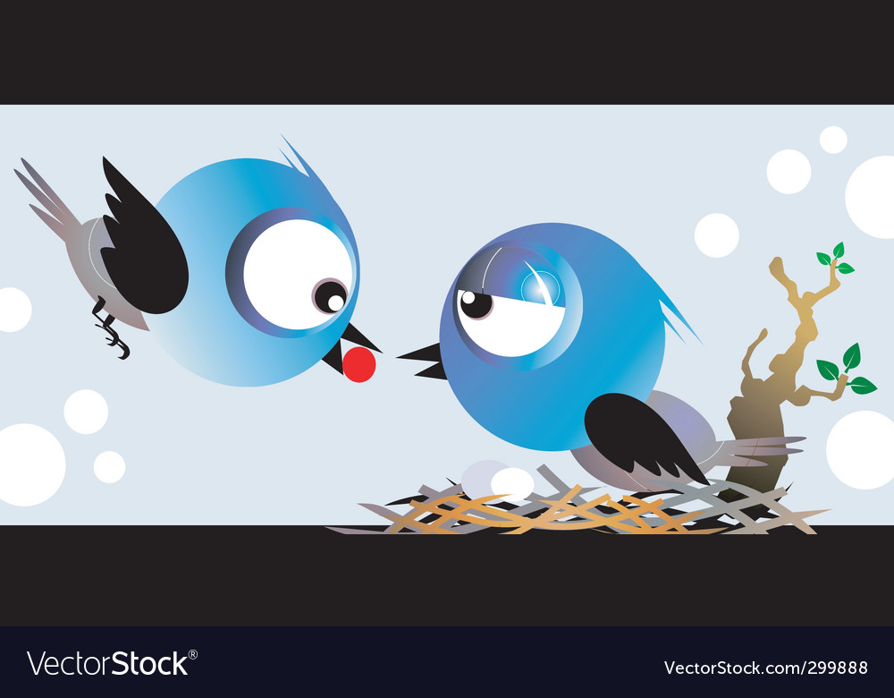 Mother and baby birds vector | Price: 1 Credit (USD $1)