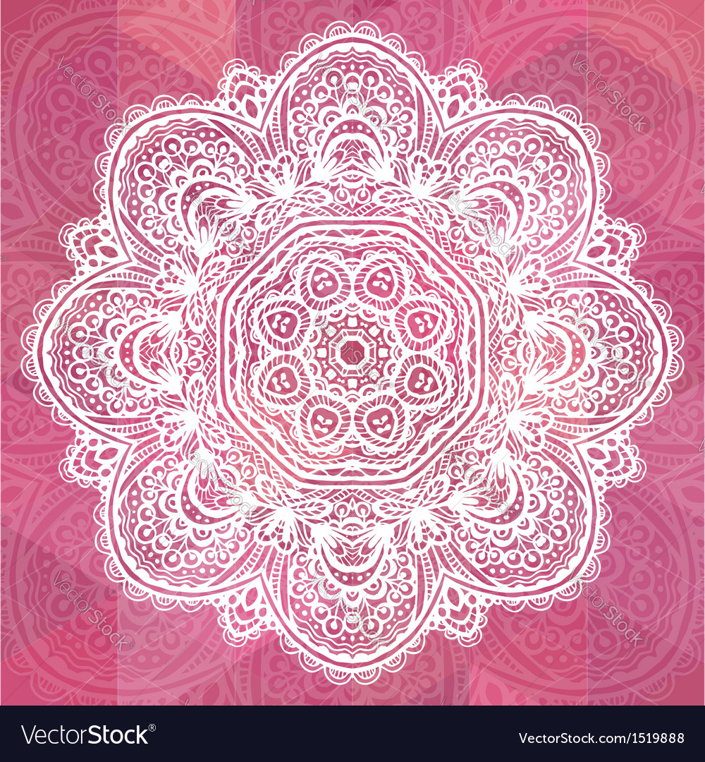 Pink ornate lacy romantic vintage background vector | Price: 1 Credit (USD $1)