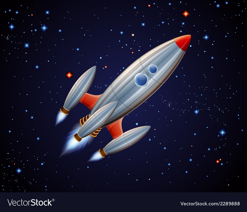 Rocket in space vector | Price: 1 Credit (USD $1)