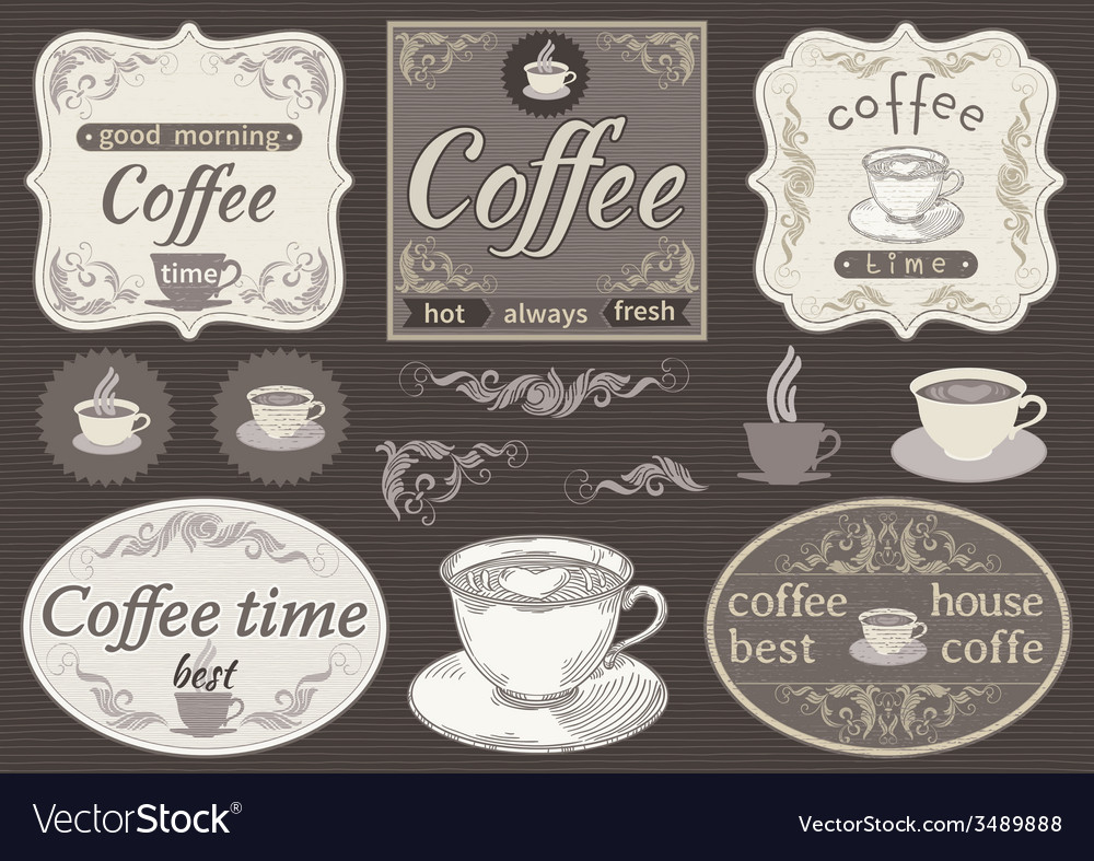 Set borders and cup of coffee vector | Price: 1 Credit (USD $1)