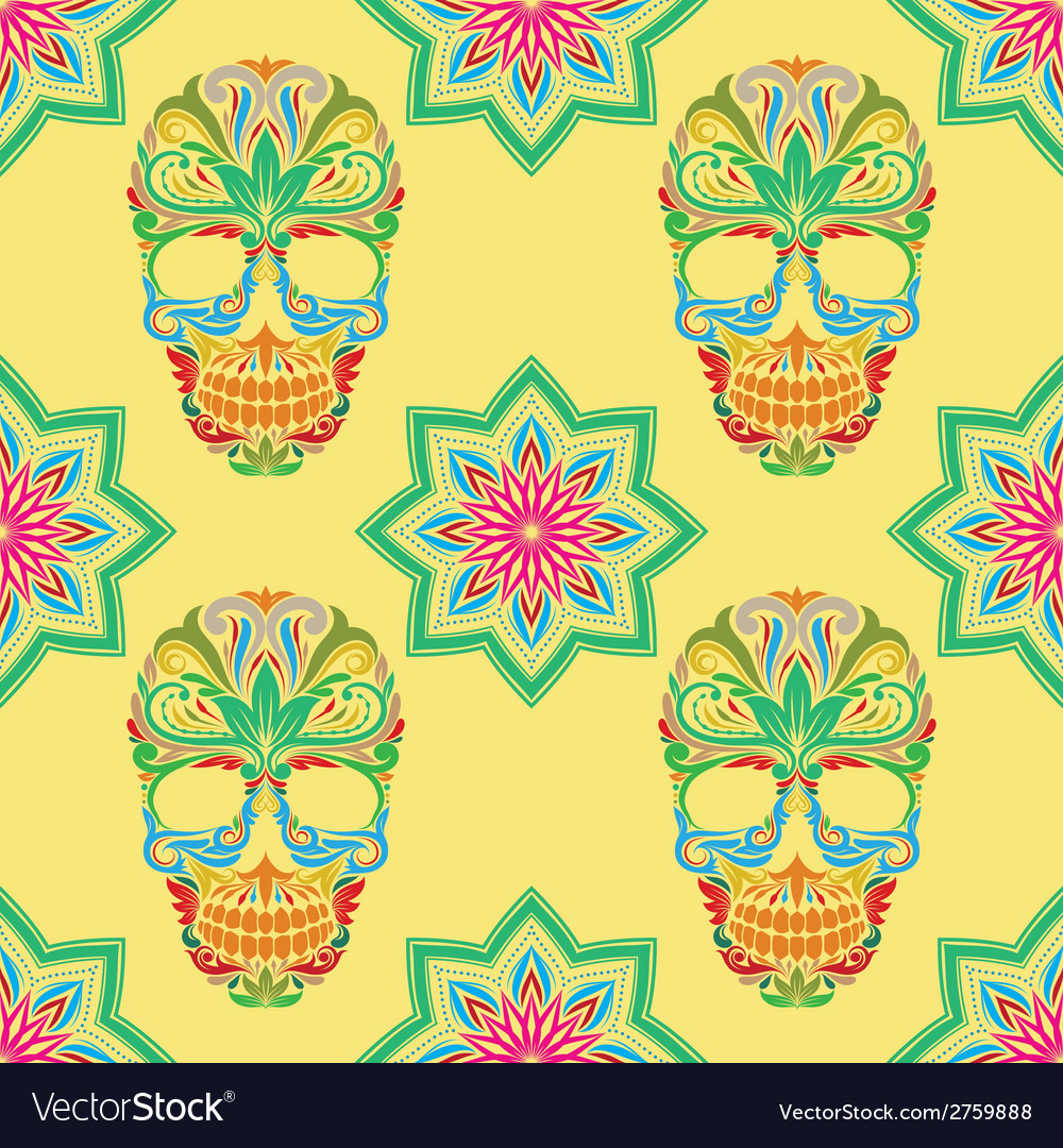 Skull and lotus pattern vector | Price: 1 Credit (USD $1)