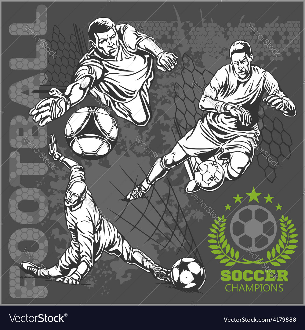 Soccer and football players plus emblems for sport vector | Price: 3 Credit (USD $3)