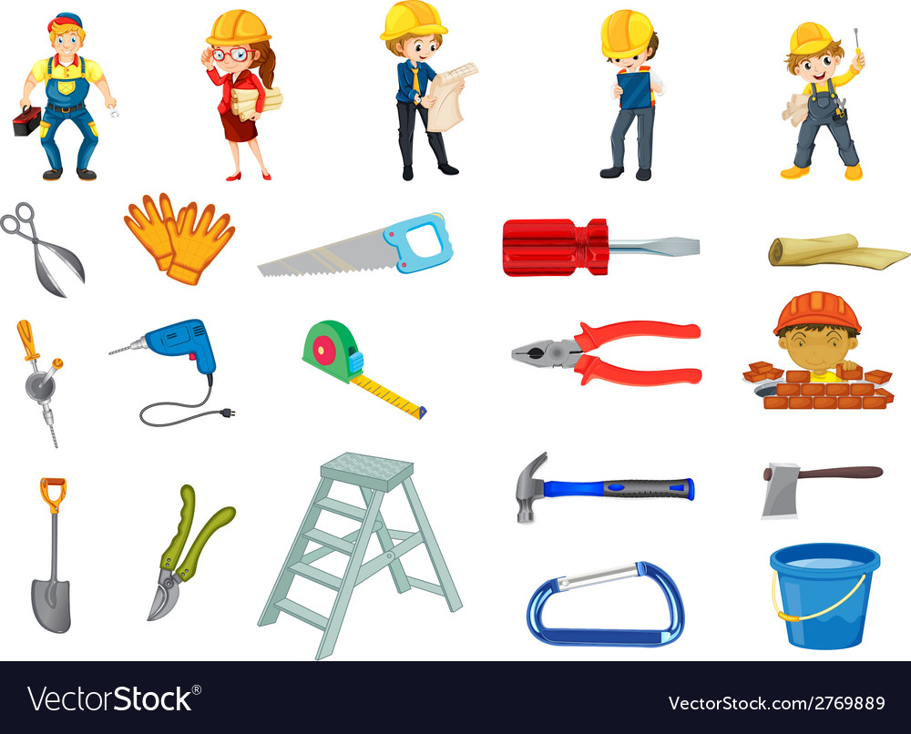 Construction worker set vector | Price: 1 Credit (USD $1)