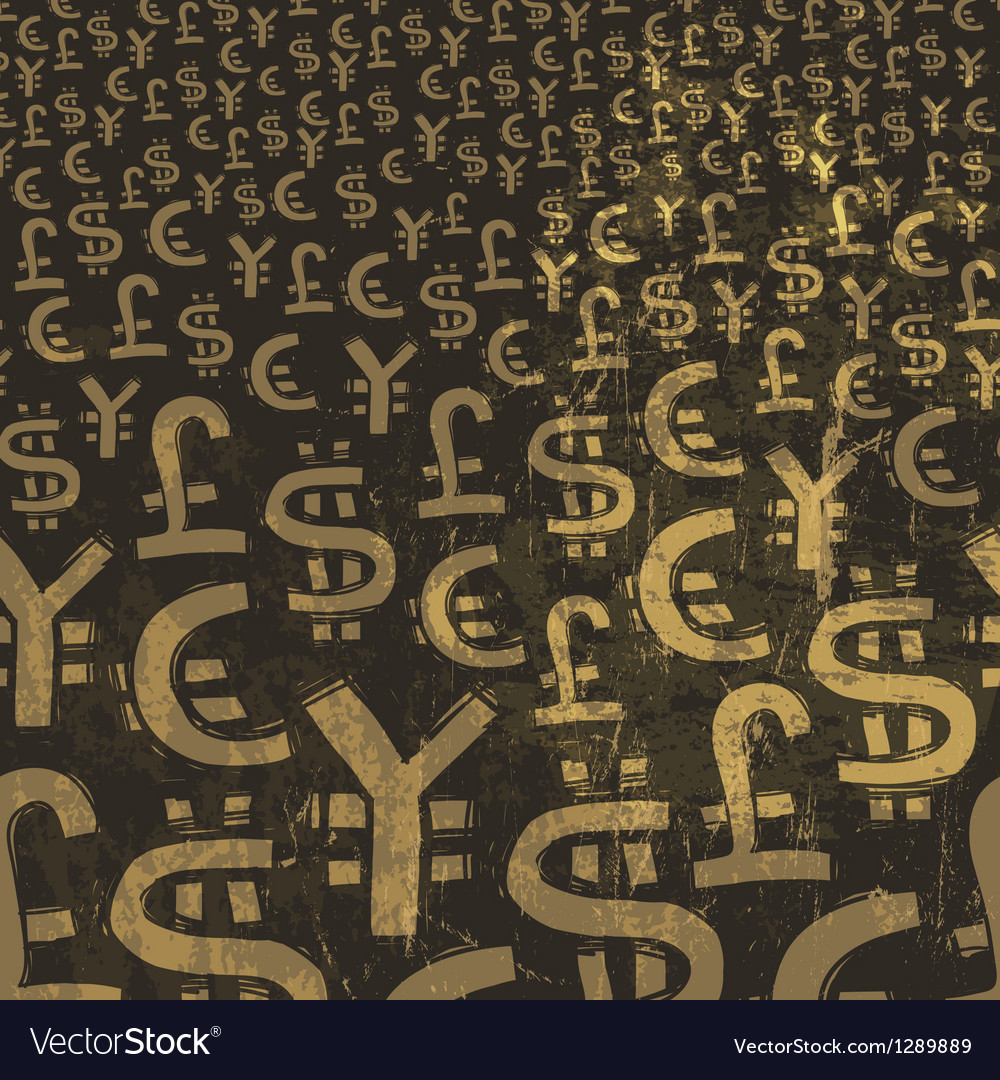 Currency symbols grunge background vector | Price: 1 Credit (USD $1)