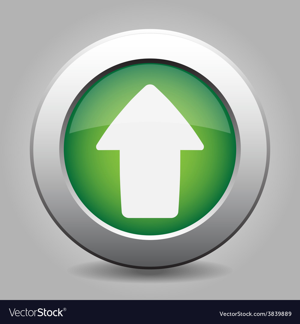 Metal button with the green arrow vector | Price: 1 Credit (USD $1)