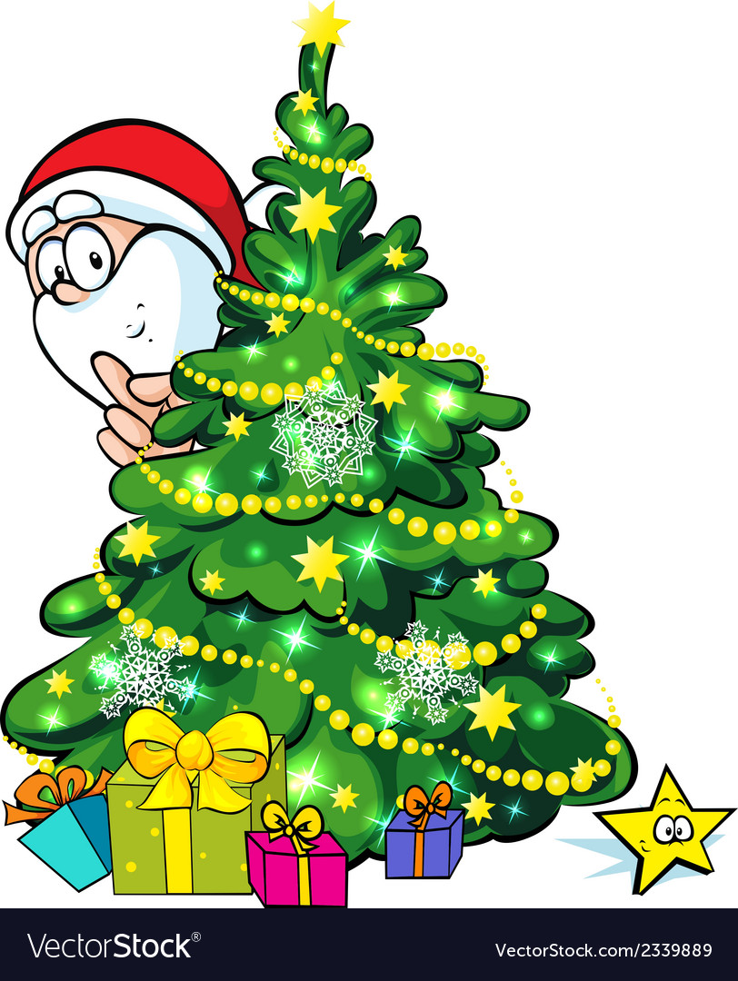Santa claus hidden behind a shining christmas tree vector | Price: 1 Credit (USD $1)