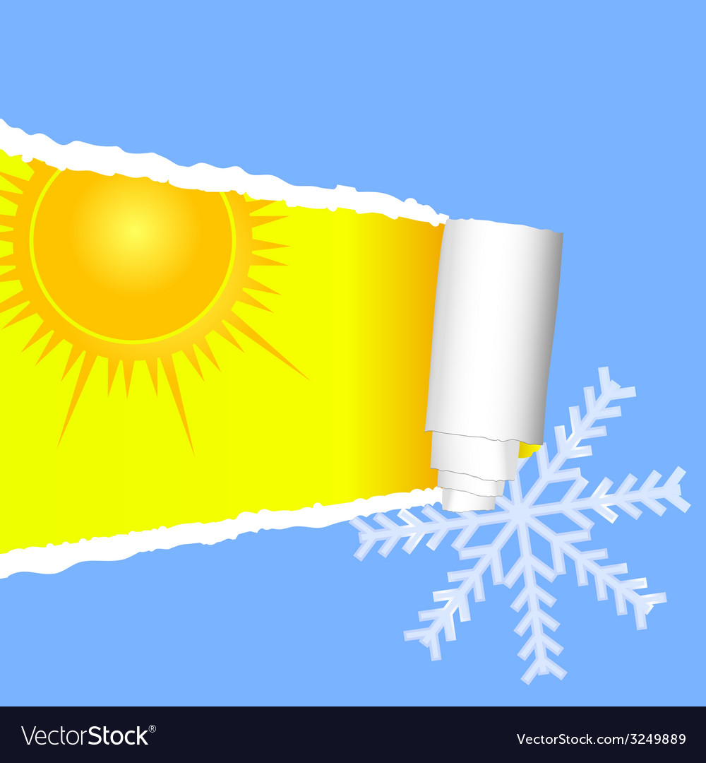 Tearing paper with sun and snowflakes color vector | Price: 1 Credit (USD $1)