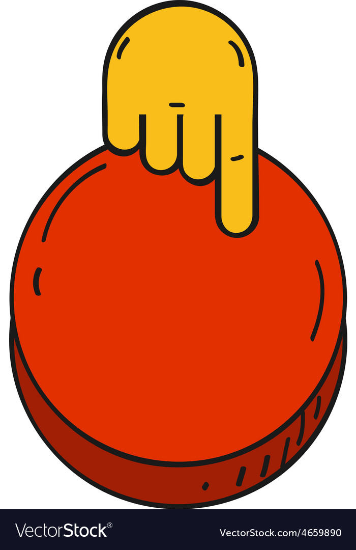 Cartoon style hand push a red button vector | Price: 1 Credit (USD $1)
