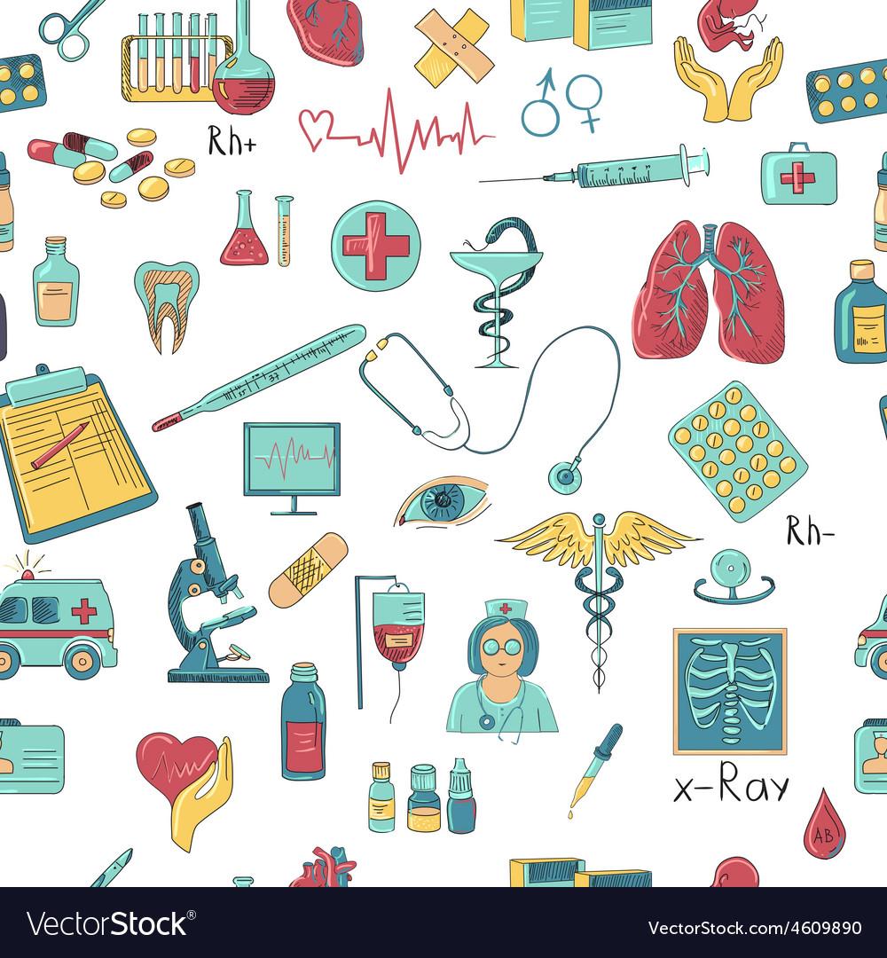 Colored hand draw medicine pattern vector | Price: 1 Credit (USD $1)