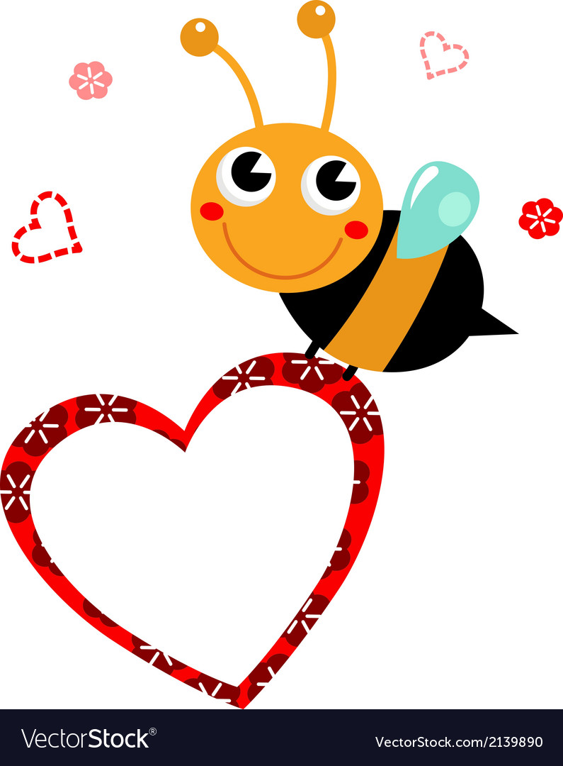 Cute beautiful bee with blank heart vector | Price: 1 Credit (USD $1)