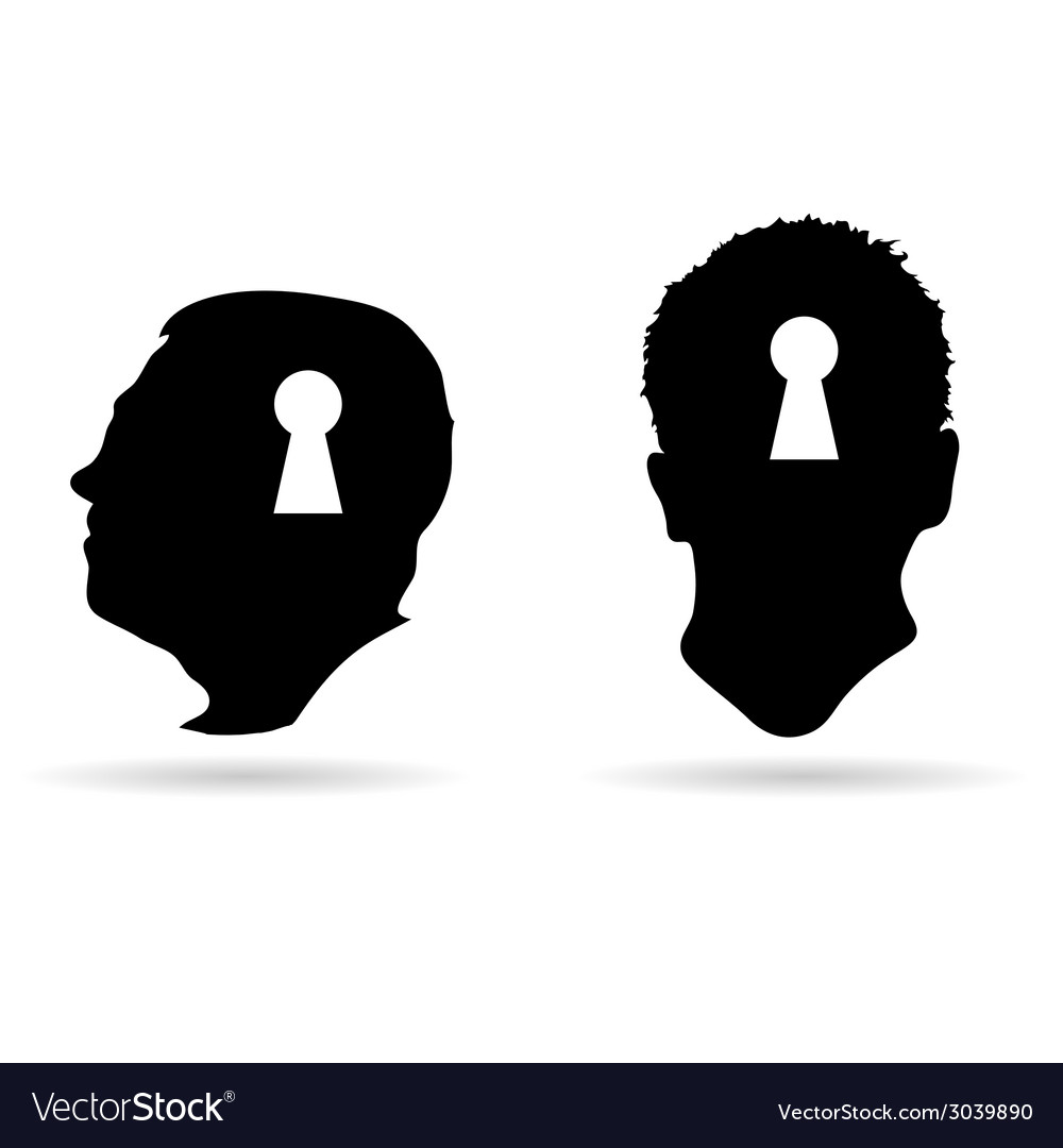 Human head and keyhole on it vector | Price: 1 Credit (USD $1)