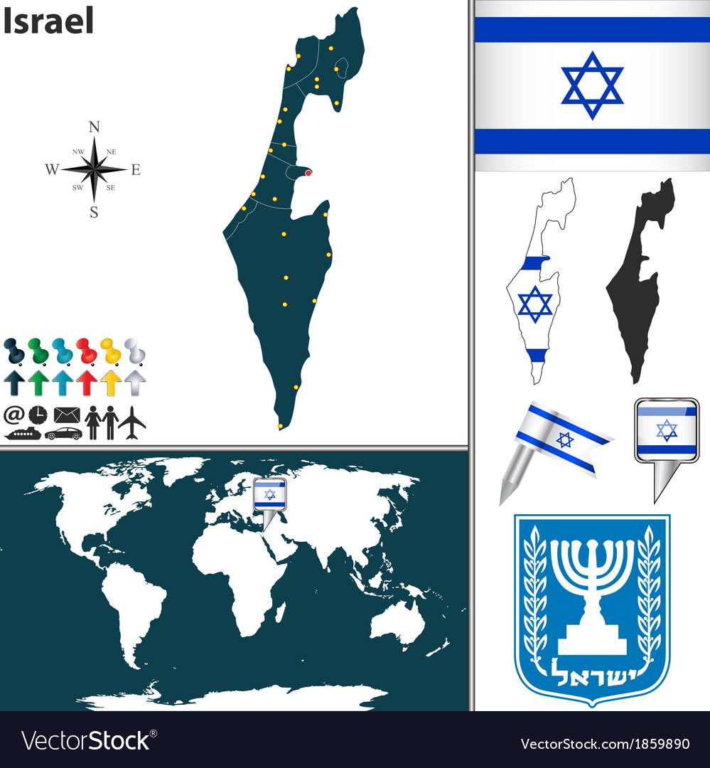 Israel map world vector | Price: 1 Credit (USD $1)