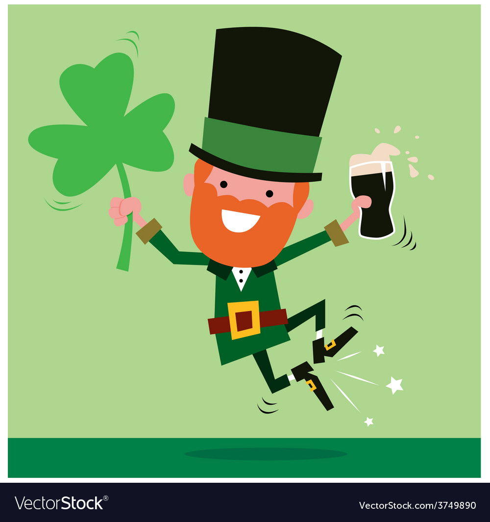 Leprechaun celebrating st patricks day vector | Price: 1 Credit (USD $1)