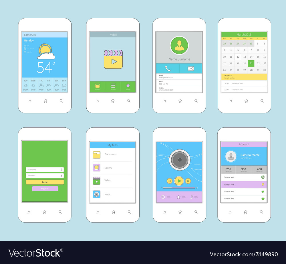 Mobile ui design flat line vector | Price: 1 Credit (USD $1)