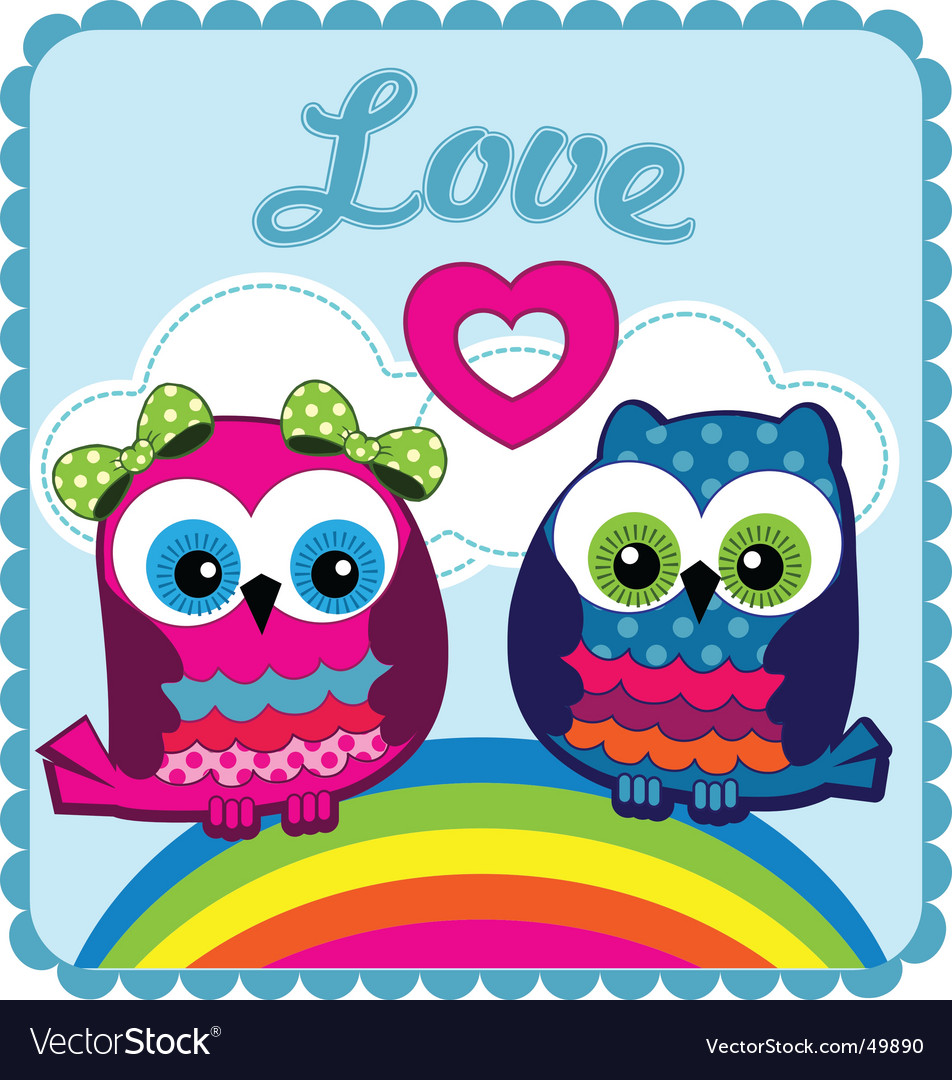 Owls in love vector | Price: 1 Credit (USD $1)