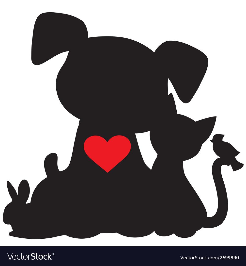 Puppy kitten silhouette vector | Price: 1 Credit (USD $1)