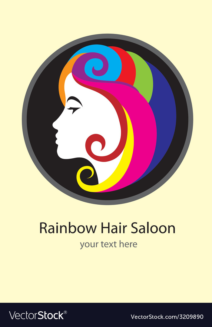 Rainbow hair saloon logo design vector | Price: 1 Credit (USD $1)
