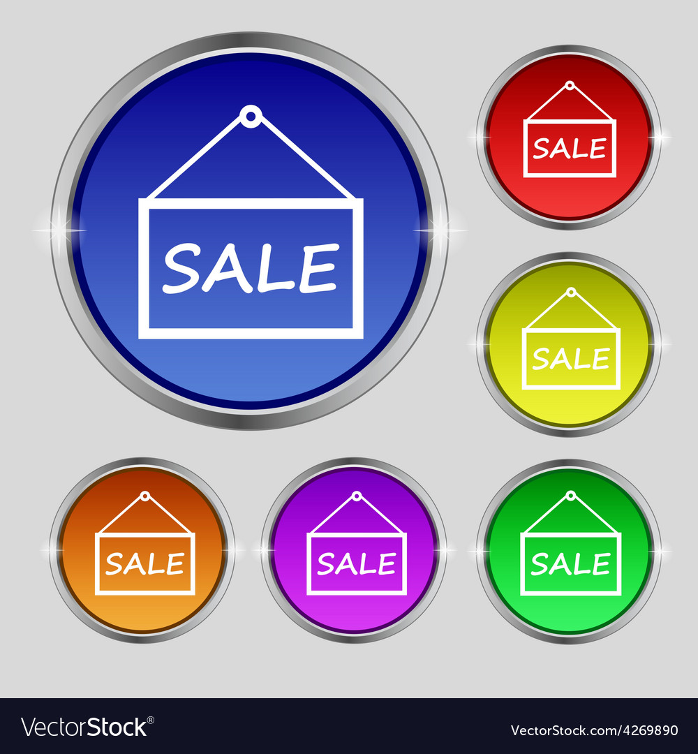 Sale tag icon sign round symbol on bright vector | Price: 1 Credit (USD $1)