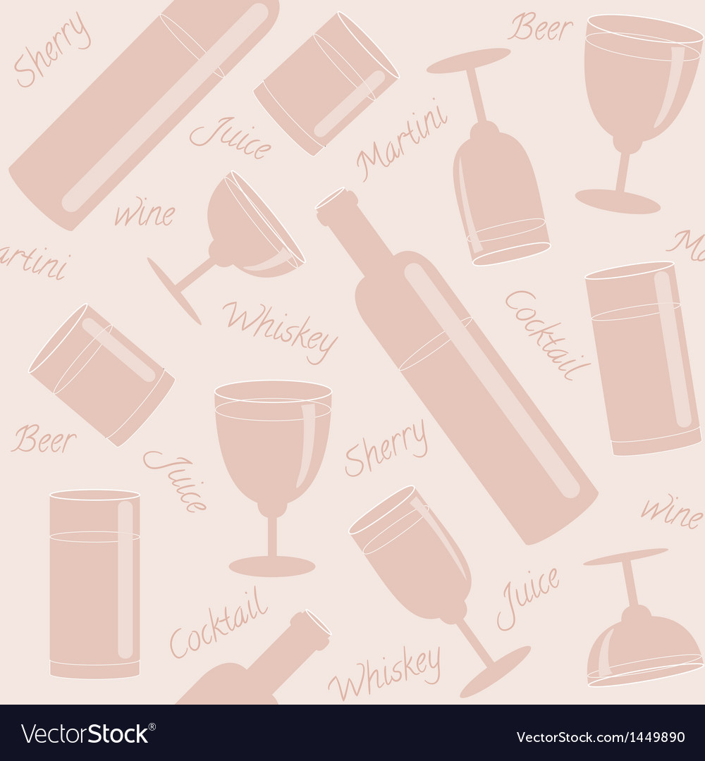 Seamless pattern with drinks and text vector | Price: 1 Credit (USD $1)