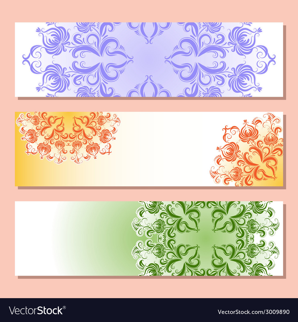 Set of three banner with pattern vector | Price: 1 Credit (USD $1)