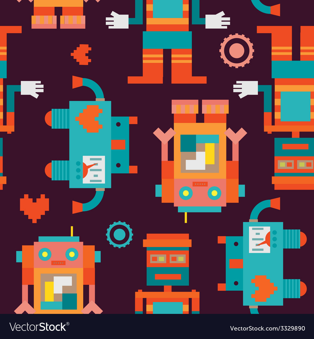 Trio robots seamless pattern vector | Price: 1 Credit (USD $1)
