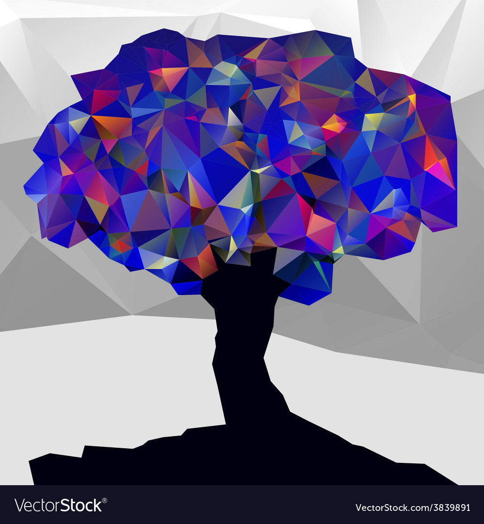 Abstract winter low poly color tree vector | Price: 1 Credit (USD $1)