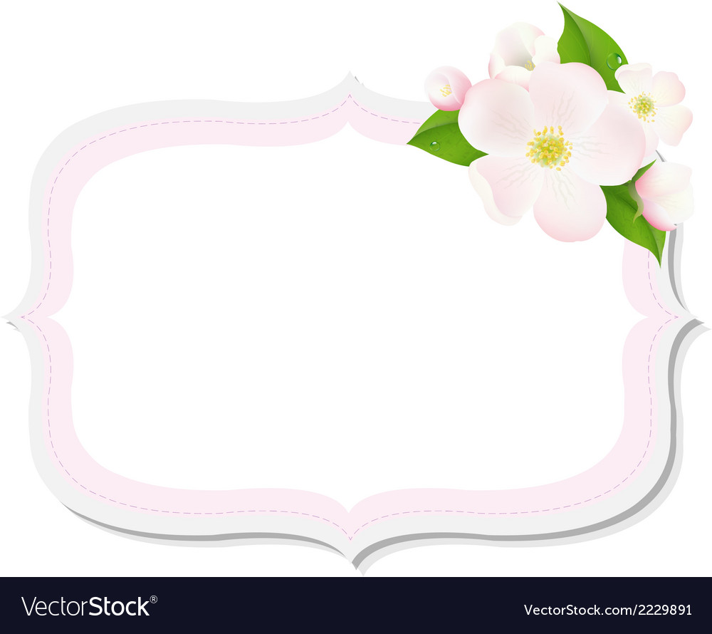 Apple tree flowers with label vector | Price: 1 Credit (USD $1)