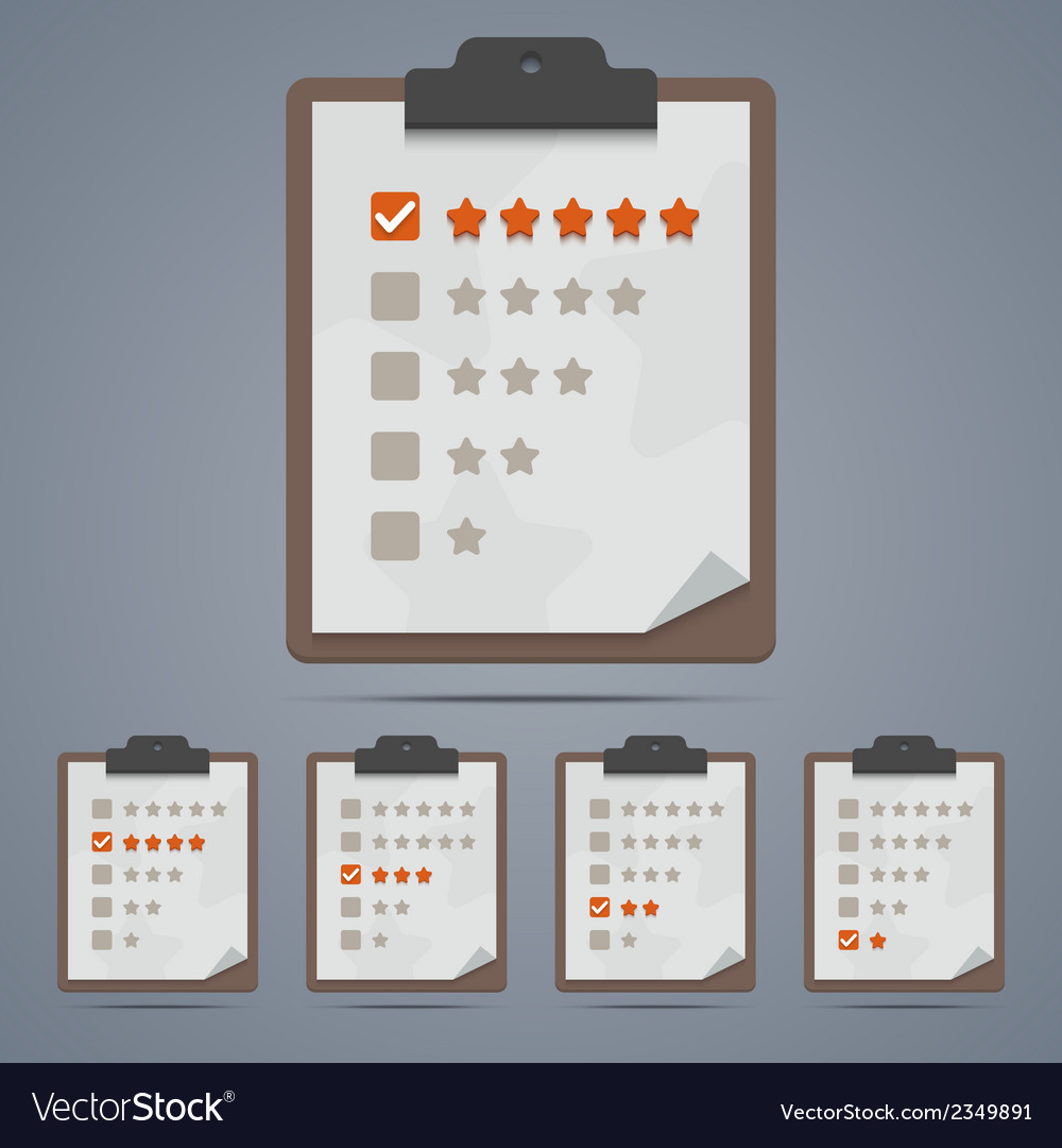 Clipboard with rating stars and checkboxes vector | Price: 1 Credit (USD $1)