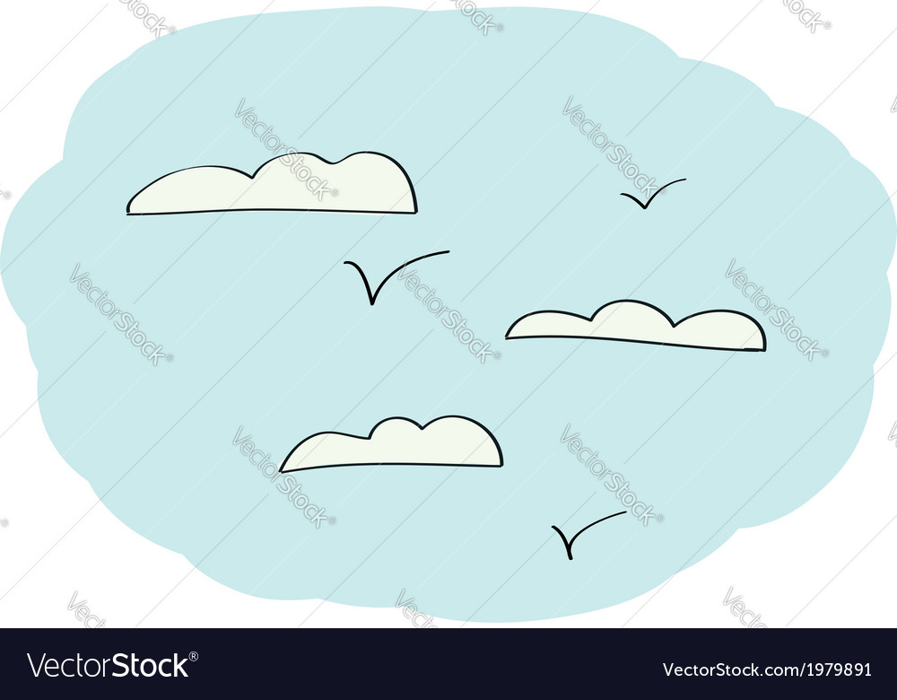 Doodle sky with clouds vector | Price: 1 Credit (USD $1)