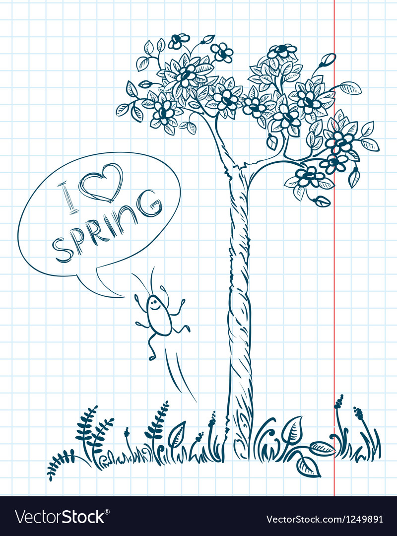 Doodle spring vector | Price: 1 Credit (USD $1)