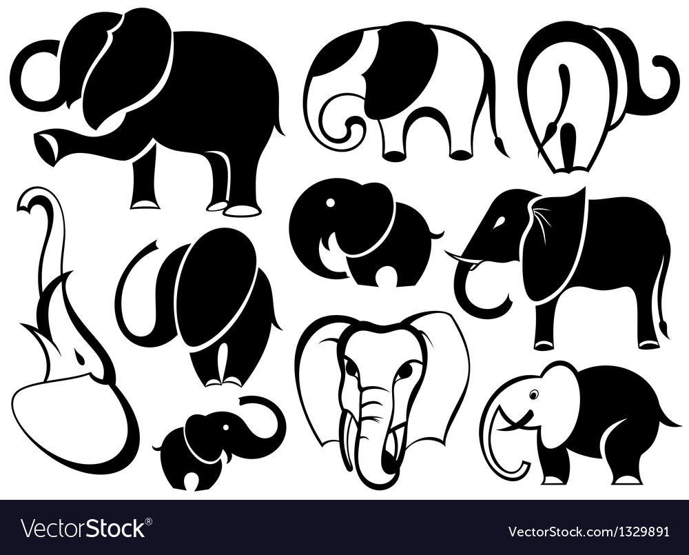 Elephant set silhouette vector | Price: 3 Credit (USD $3)