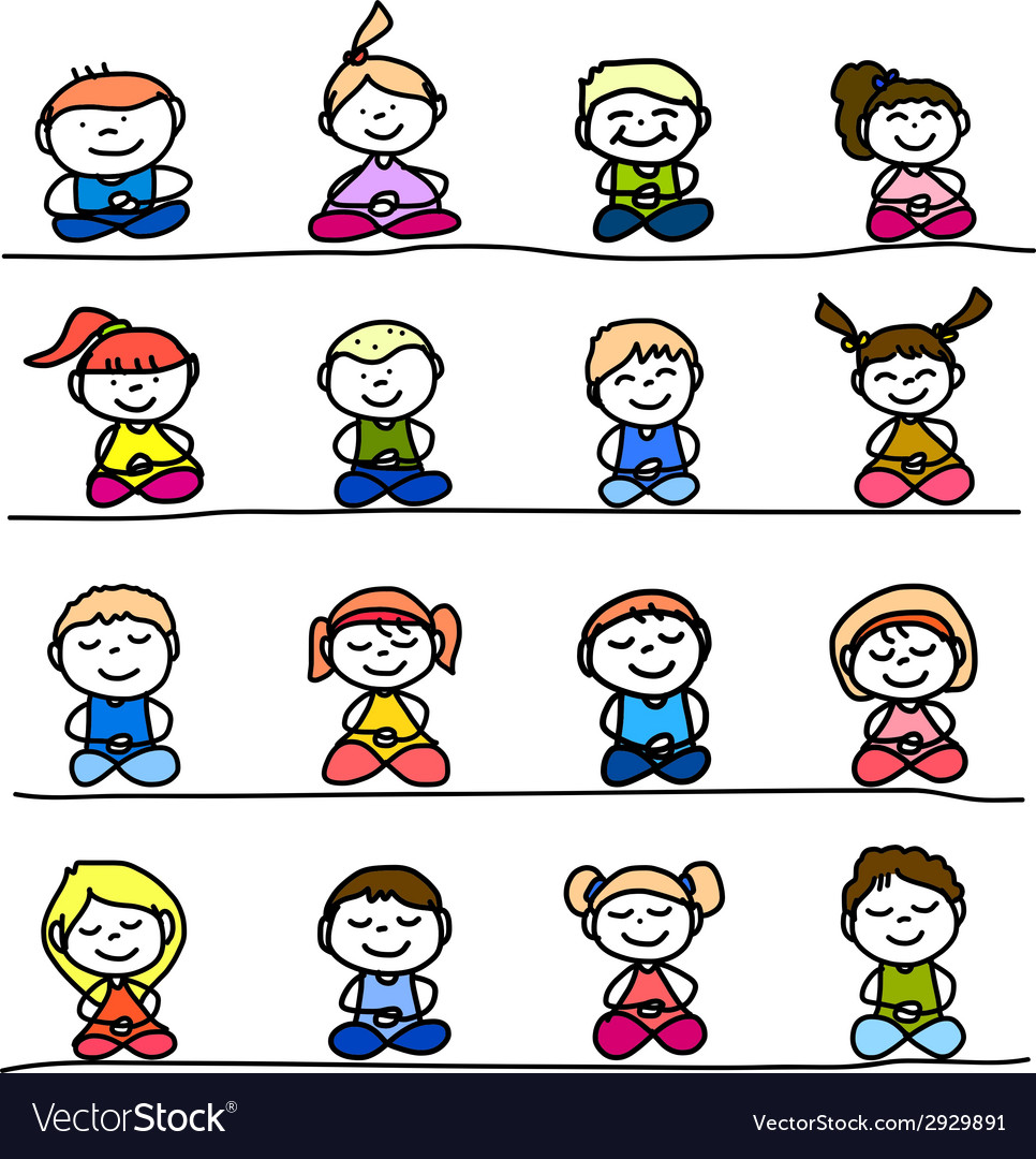 Hand drawing cartoon meditation vector | Price: 1 Credit (USD $1)