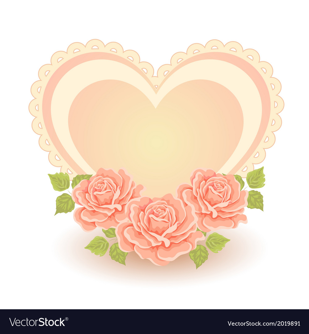 Heart shape with roses vector | Price: 1 Credit (USD $1)