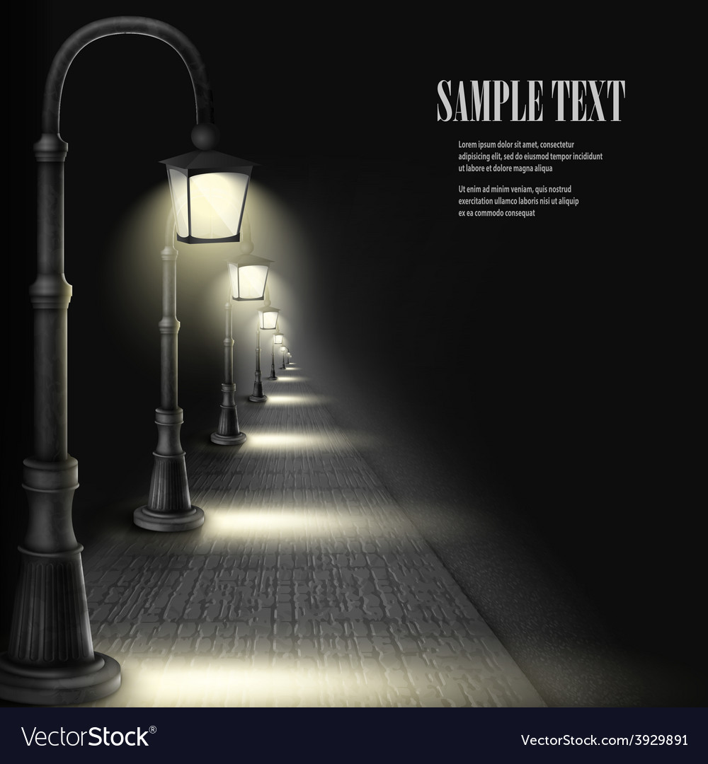 Lamps along paving block street vector | Price: 3 Credit (USD $3)