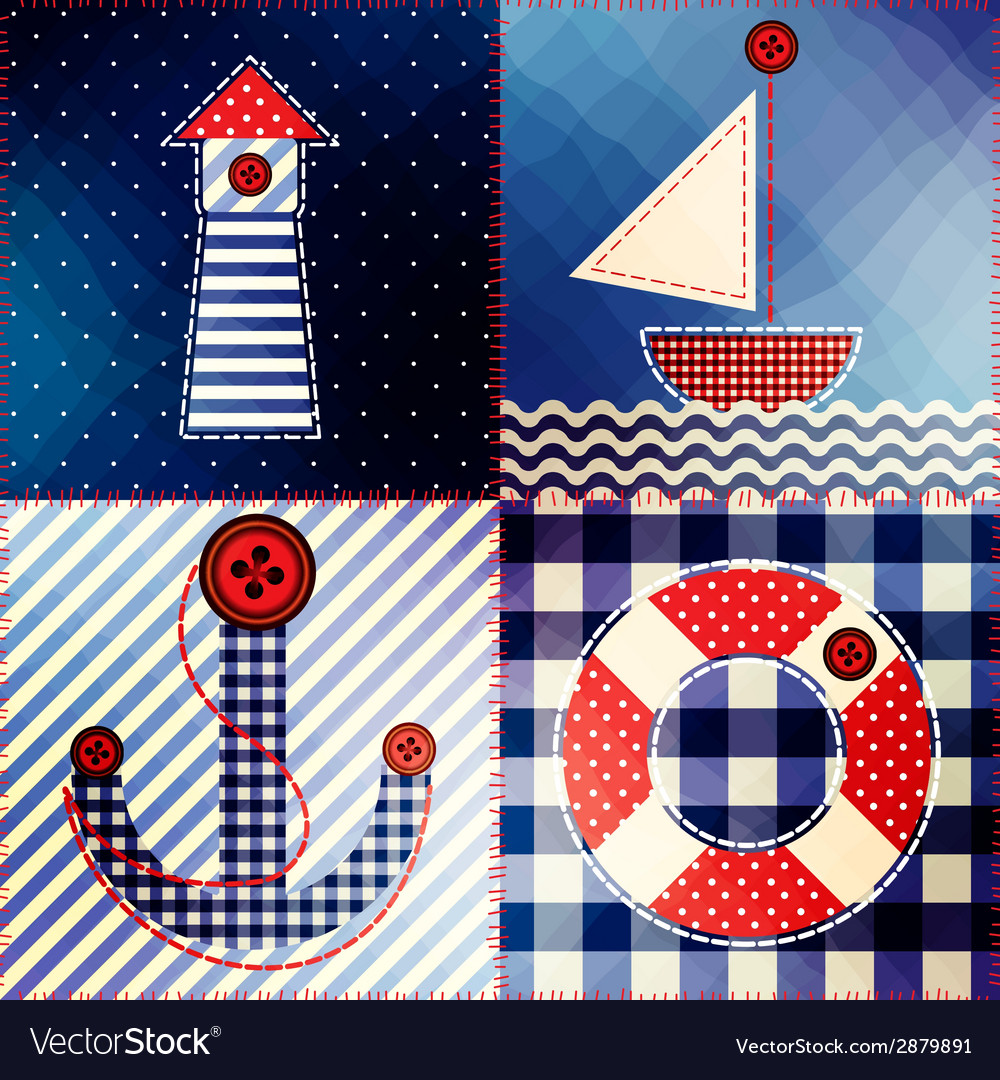 Patchwork in nautical style vector | Price: 1 Credit (USD $1)