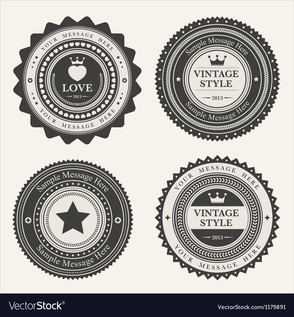 Set of blank retro vintage badges and labels vector | Price: 1 Credit (USD $1)