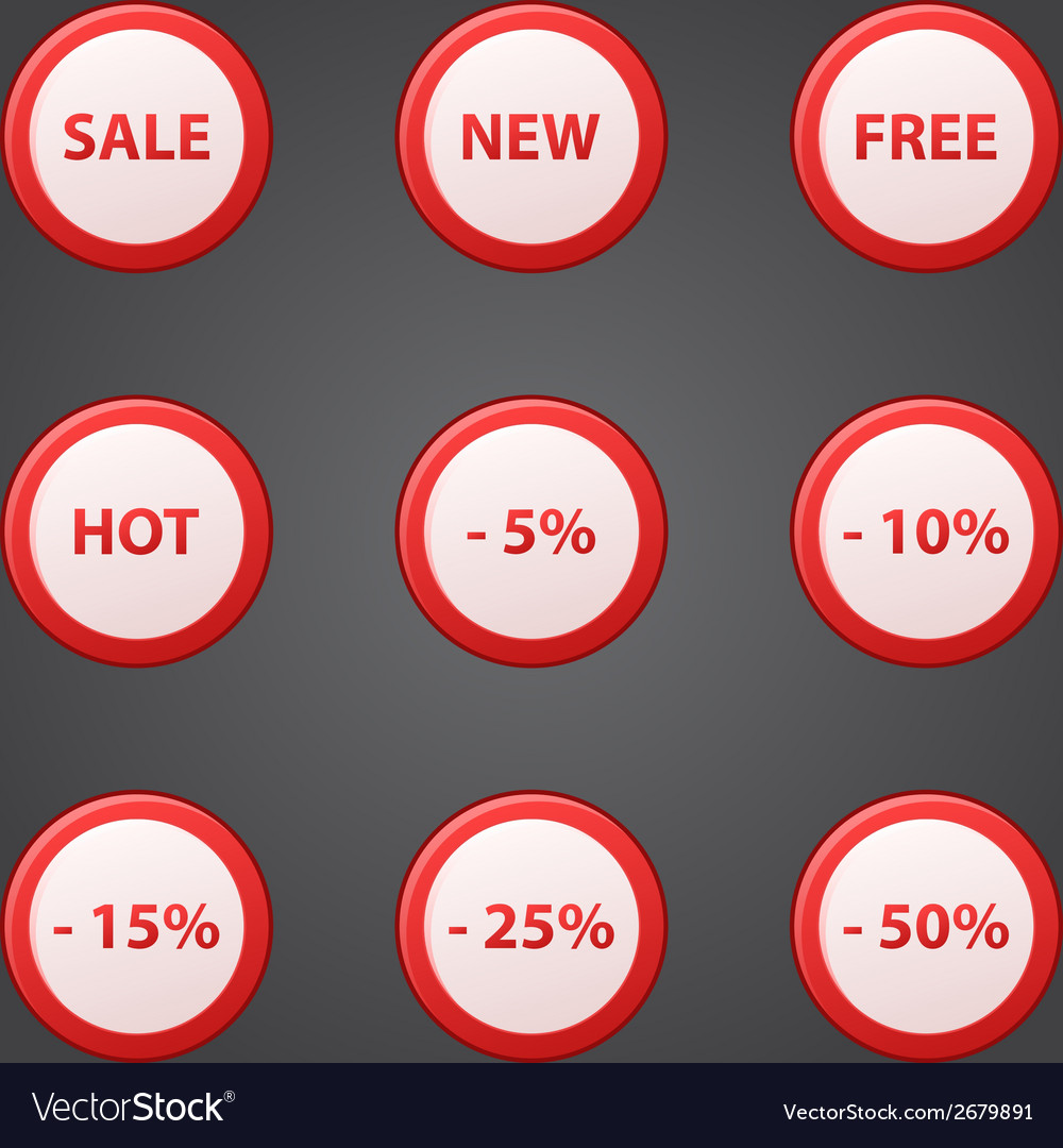Shopping collection of sale discount red icons vector | Price: 1 Credit (USD $1)