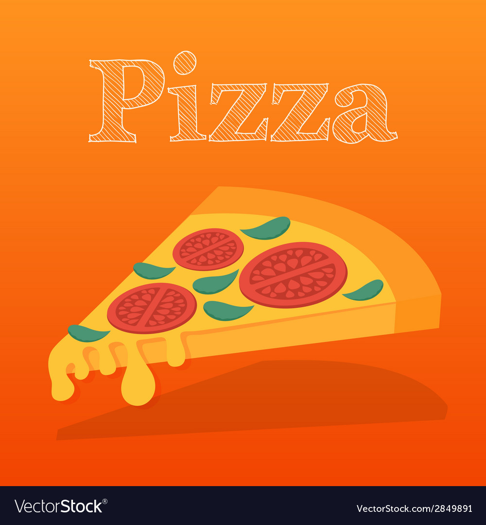 Slice of pizza margarita flat vector | Price: 1 Credit (USD $1)