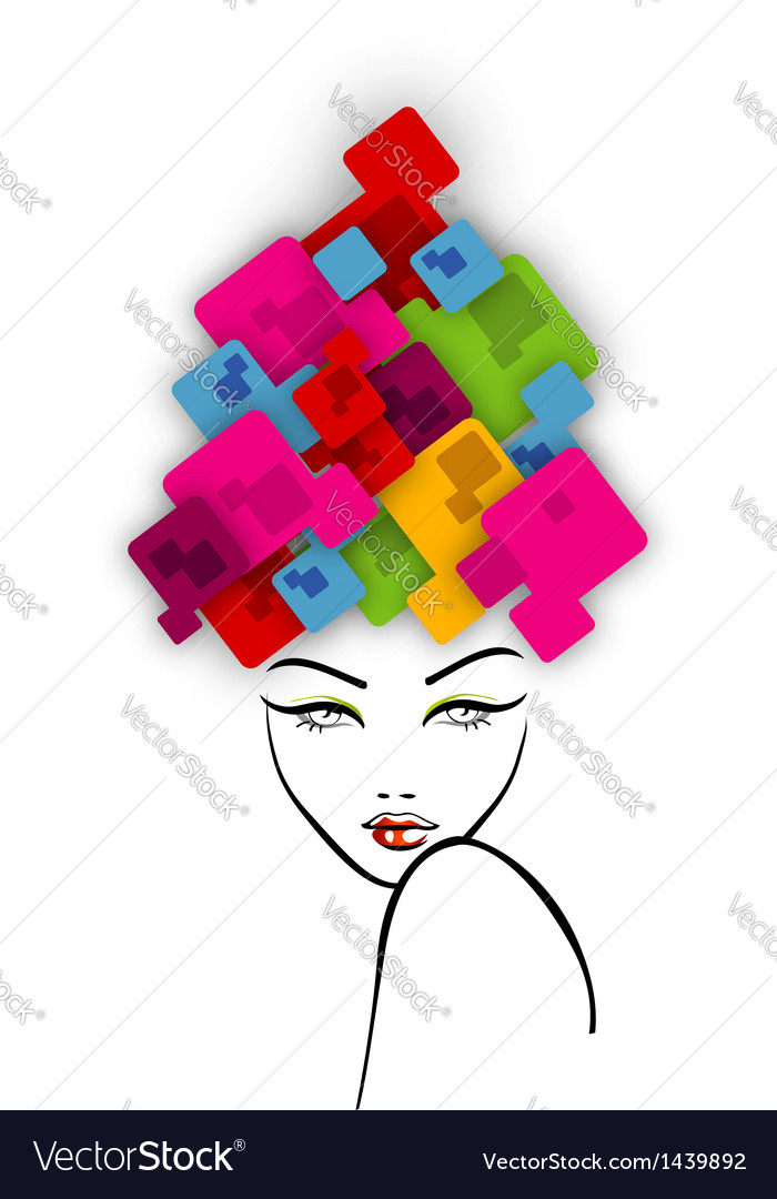Abstract hairstyle with colorful boxes vector | Price: 1 Credit (USD $1)