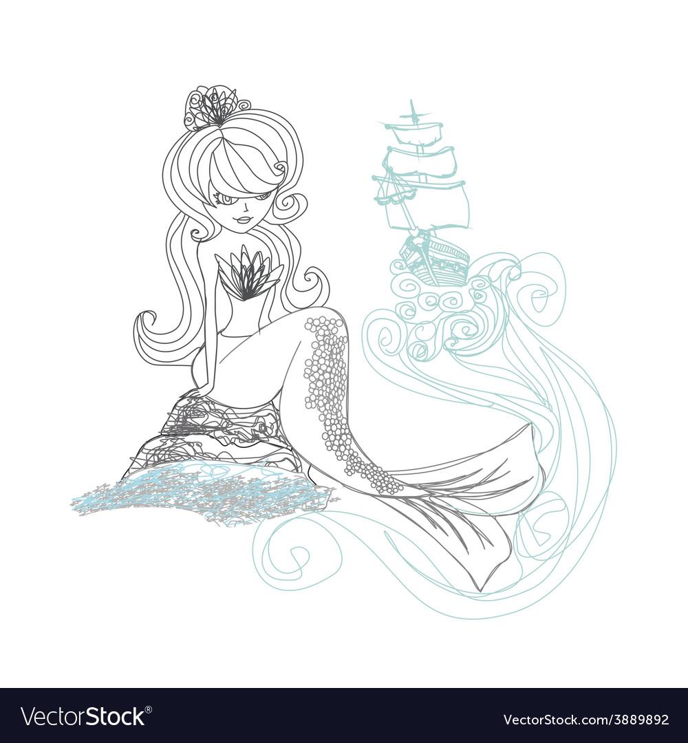 Beautiful mermaid - doodle vector | Price: 1 Credit (USD $1)