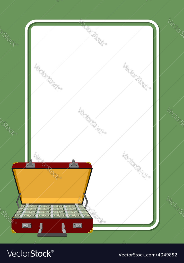 Card for greetings suitcase full of money vector | Price: 1 Credit (USD $1)