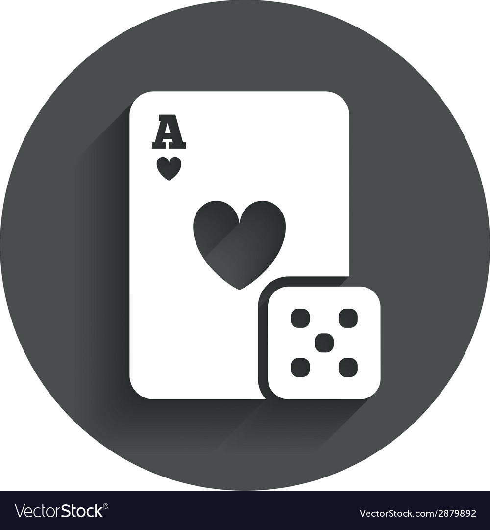 Casino sign icon playing card with dice symbol vector   Price: 1 Credit (USD $1)